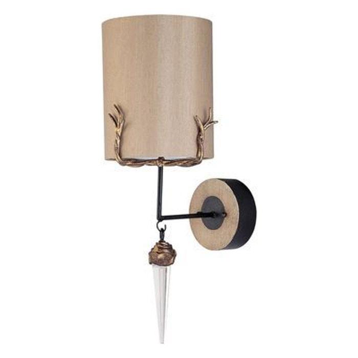 applique murale diego 1x100w beige et or flambeau. Black Bedroom Furniture Sets. Home Design Ideas