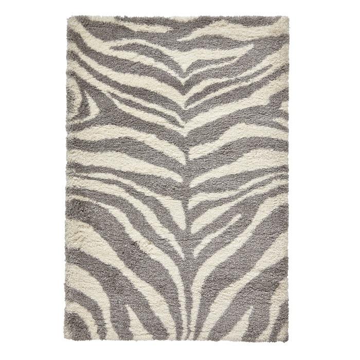 Zebra Pattern Rug Ivory Grey