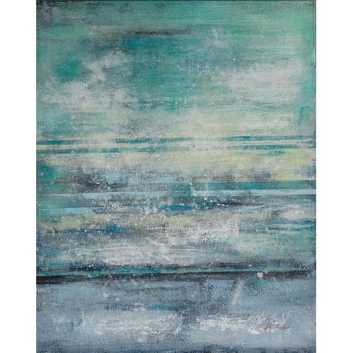 Tableau abstrait tons bleus verts et gris et feuilles métal 80x100cm pier import image 0