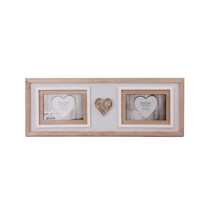 cadre photo p le m le 2 photos en bois blanc et naturel avec cur bois sculpt 55x20cm bois blanc. Black Bedroom Furniture Sets. Home Design Ideas