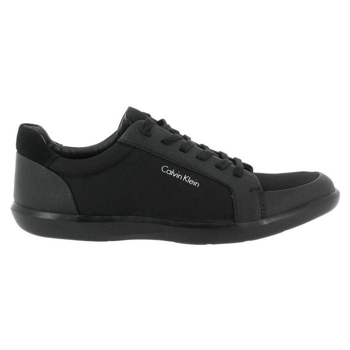 Baskets mode cuir + toile  noir Calvin Klein  La Redoute