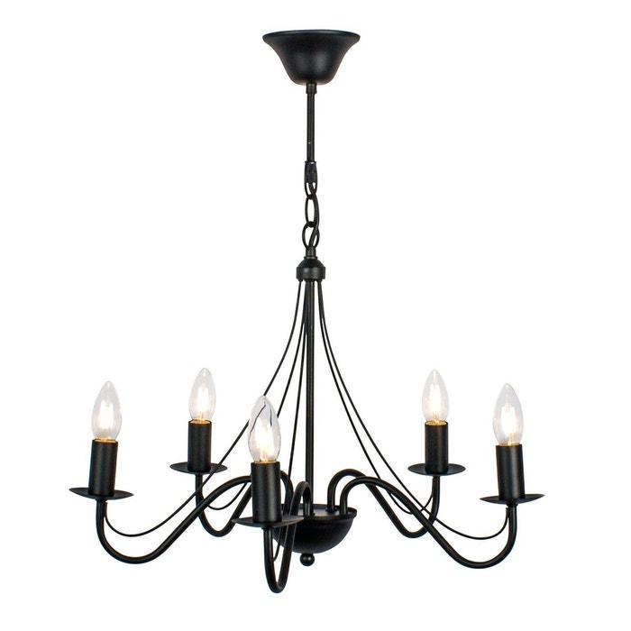 lustre 5 ampoules camille noir en fer forg noir keria la redoute. Black Bedroom Furniture Sets. Home Design Ideas