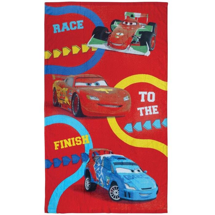 Drap de plage cars circuit 100 coton 320 g m 70x120cm rouge cars la re - La redoute drap de plage ...