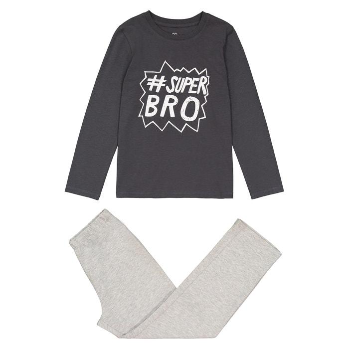 Slogan Print Cotton Pyjamas, 3-12 Years  La Redoute Collections image 0