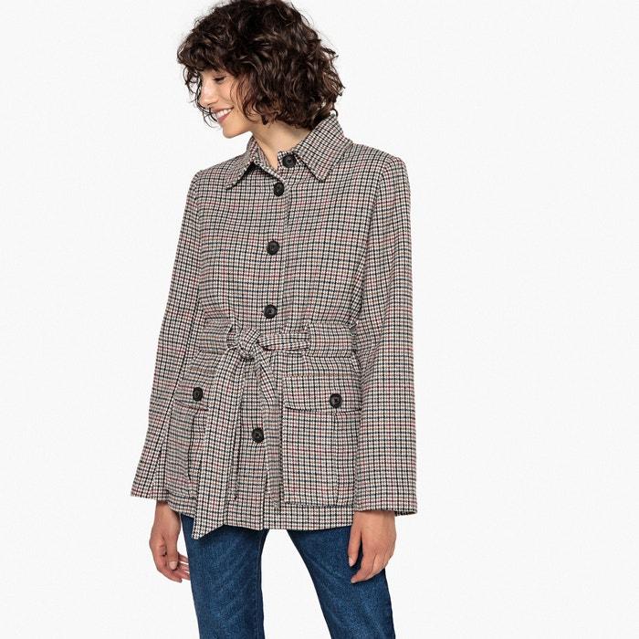 Manteau à carreaux avec ceinture à nouer  La Redoute Collections image 0