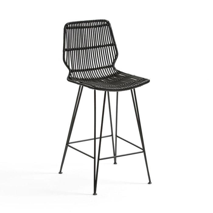 chaise de bar mi hauteur en kubu malu noir la redoute interieurs la redoute. Black Bedroom Furniture Sets. Home Design Ideas