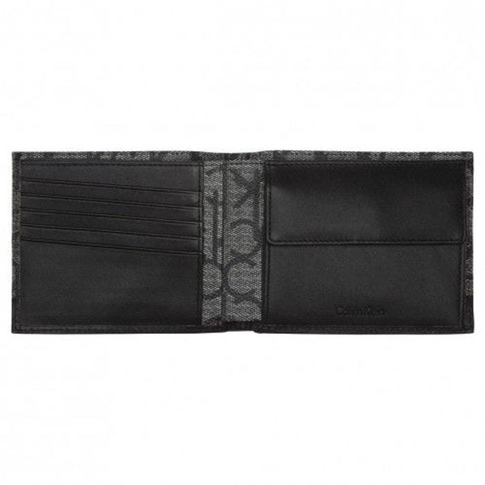 Portefeuille italien 2 volets Greg Calvin Klein Jeans en tissu gris monogrammé et empiècement noir Uaxc7ELpy4