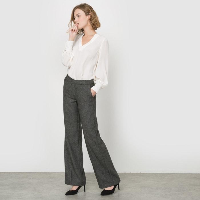 Image Pantaloni larghi tweed spigati, mélange lana R essentiel