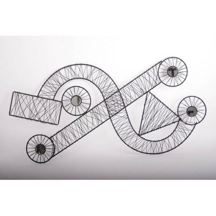 d coration murale m tal bande et courbe noires 106x52
