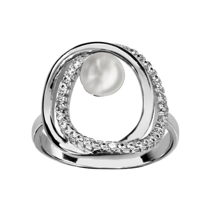 Amazon Vente Pas Cher Bague double cercle perle blanche argent 925 couleur unique So Chic Bijoux | La Redoute Prix De Vente À Bas Prix a3UjssHOIo