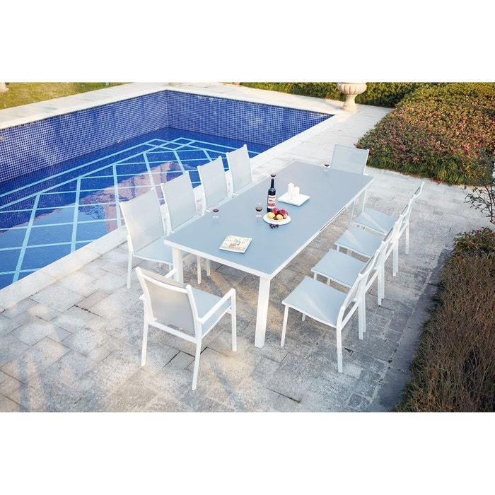 Table de jardin extensible aluminium 10 places, molvina 10 blanc ...