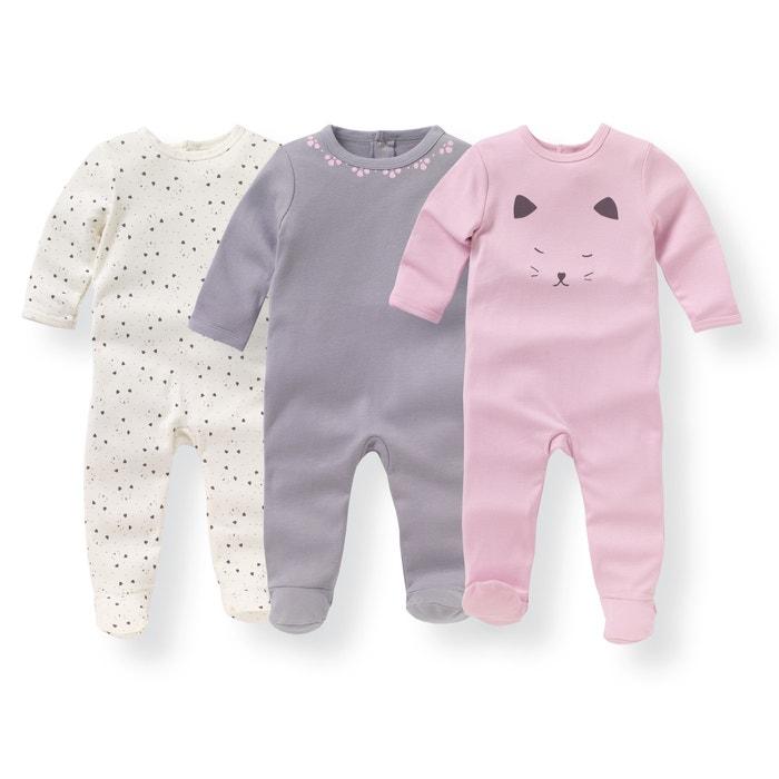 Image Pyjama coton imprimé 0 mois-3 ans (lot de 3) La Redoute Collections