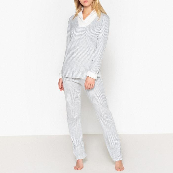 Loft Cotton Pyjamas with Faux Fur V-Neck  LE CHAT image 0