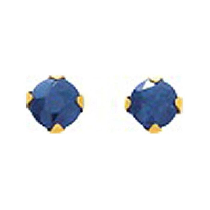Boucles d'oreilles femme puces 2,5 mm saphir bleu or jaune 750/000 (18 carats) couleur unique So Chic Bijoux   La Redoute
