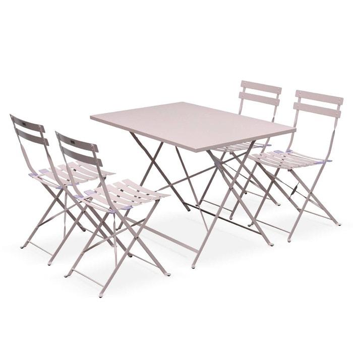 Salon de jardin bistrot pliable Emilia rectangulaire, avec quatre chaises  pliantes, acier thermolaqué