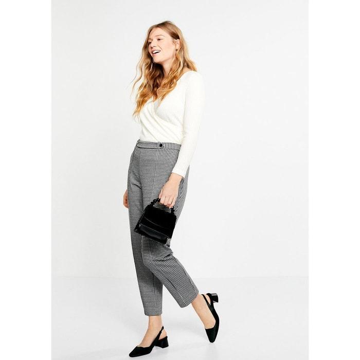 Pantalon à carreaux vichy noir Violeta By Mango   La Redoute 7d3e168c5bd6