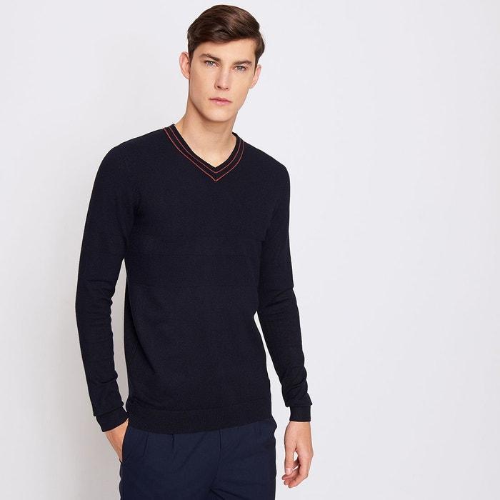 pull homme col v tricotage fantaisie dark navy devred la. Black Bedroom Furniture Sets. Home Design Ideas