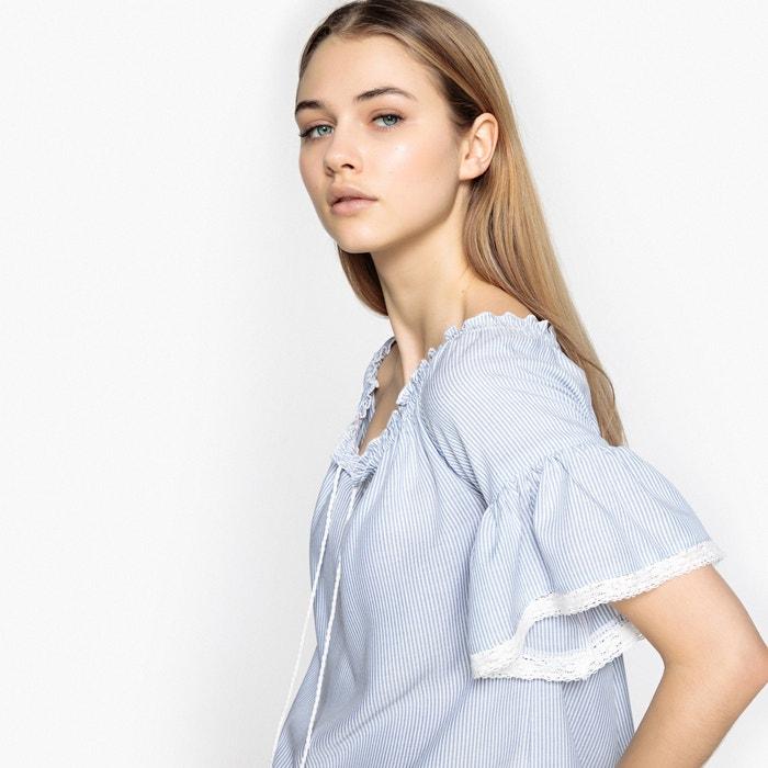 estampada BEST cuello con manga Blusa de redondo corta MOUNTAIN Xtvrwzqv