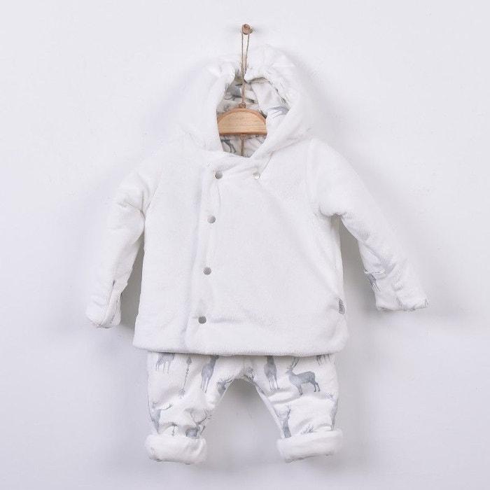 55e4360082511 Combipilote 2 pièces - manteau à capuche avec pantalon - ensemble bébé en coton  bio gots - collection cerf Sevira Kids