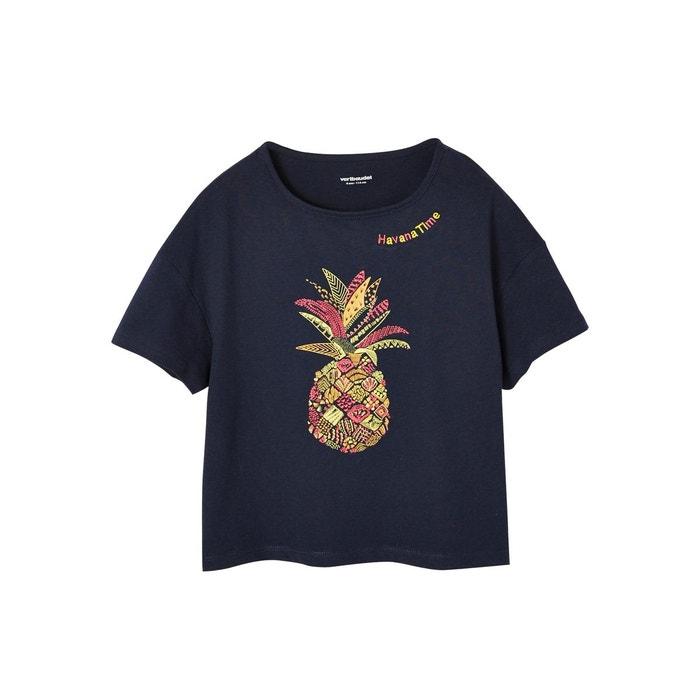 12267f2f66f4b T-shirt fille broderie ananas marine - grise Vertbaudet