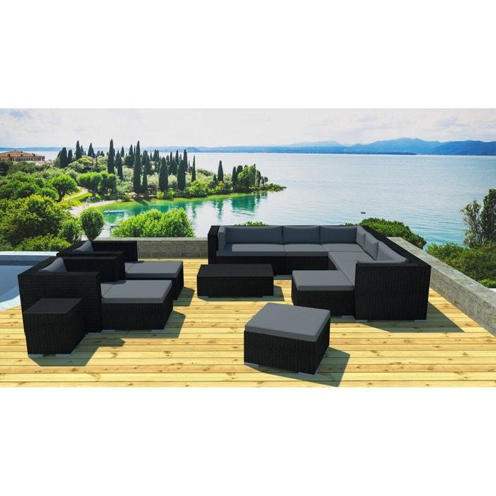 Grand salon jardin modulable en r sine noir gris for Salon jardin la redoute