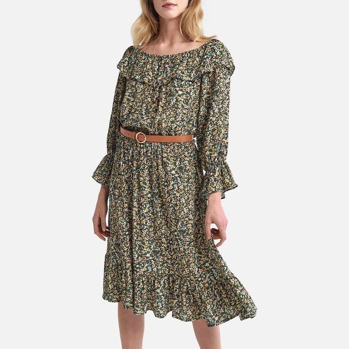 Kurzes Kleid Mit Langen Armeln Und Blumenmuster Geblumt La Redoute Collections La Redoute