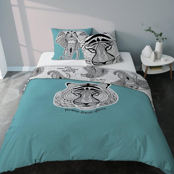 parure housse de couette tigre et l phant totem bleu lagon bleu selene et gaia la redoute. Black Bedroom Furniture Sets. Home Design Ideas