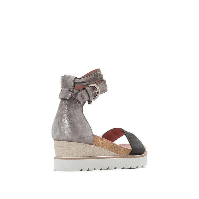 Sandales compensées cuir, tapas noir/gris foncé Mjus