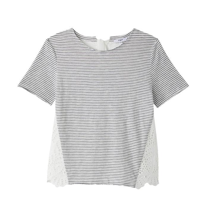 redondo y a Camiseta rayas de manga SUNCOO cuello corta 8zwYq1