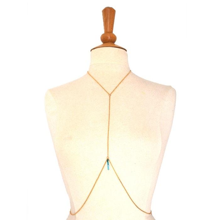 Bijou de corps chaîne dorée et dégradé de perles swarovski - CRISTAL