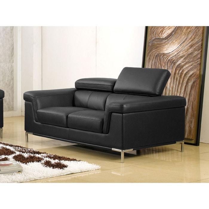 canap cuir 2 places rania noir la maison du canape la redoute. Black Bedroom Furniture Sets. Home Design Ideas