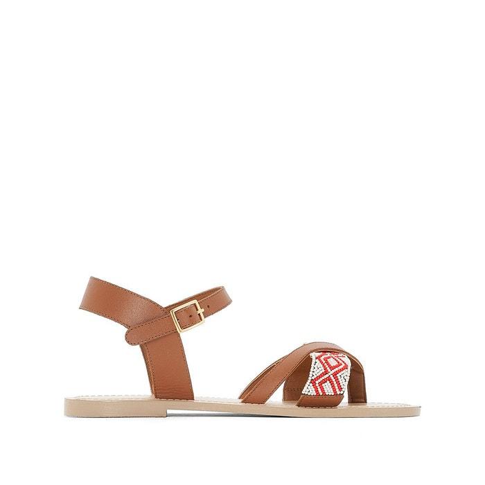 Sandales cuir entre-doigts détail perles La Redoute Collections
