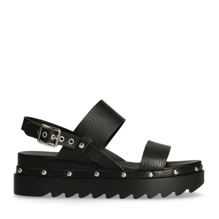 Sandales à plateau avec clous noir Sacha Pas Cher Nouvelle Arrivée A5QpyMv4ma