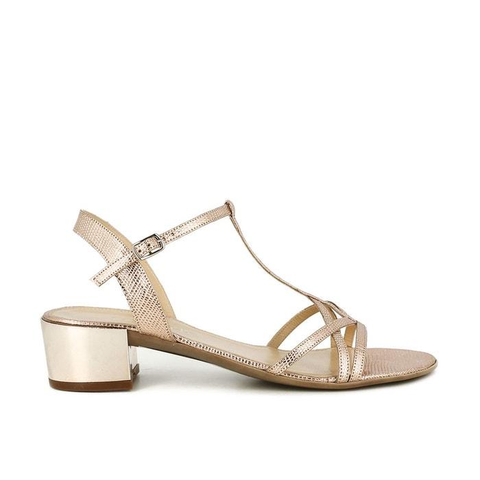 Sandales cuir, talons carrés, effet reptile cuivre Jonak