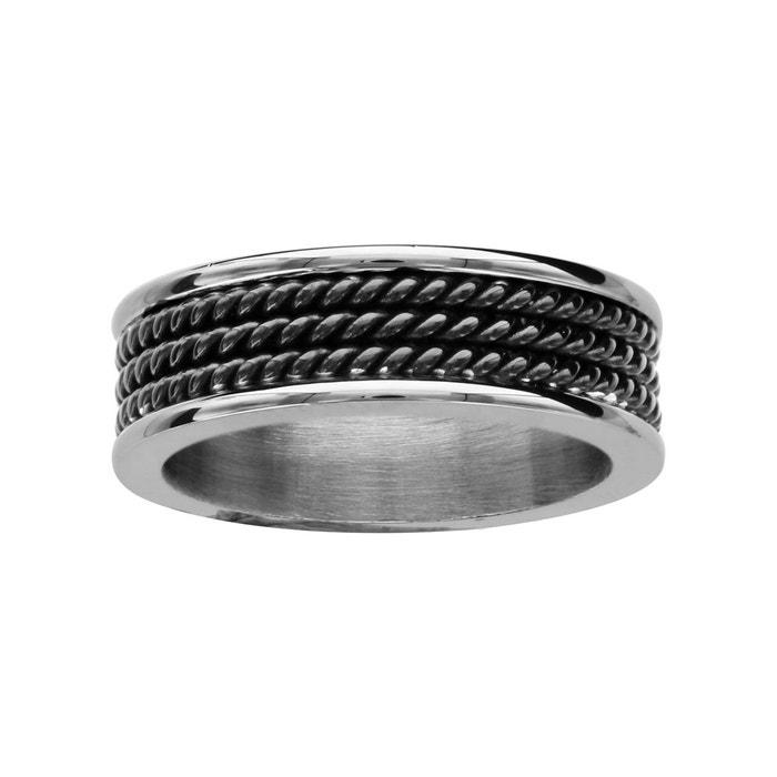 Bague fils torsadés noir acier inoxydable couleur unique So Chic Bijoux | La Redoute