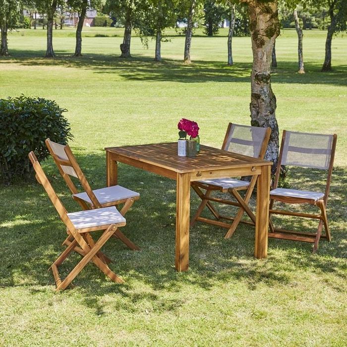 Salon de jardin en bois d\'acacia FSC extensible 4 à 8 places