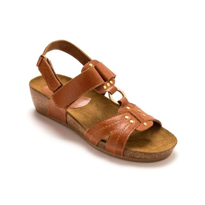 Sandales cuir, pattes auto-agrippantes Pediconfort