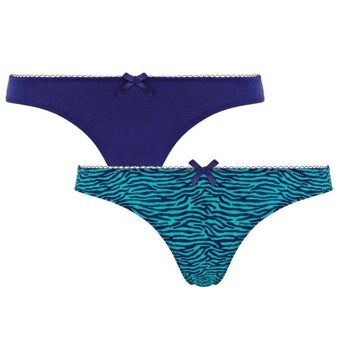 lot de 2 strings bleu imprim z bre double zebra multicolore pomm 39 poire la redoute. Black Bedroom Furniture Sets. Home Design Ideas
