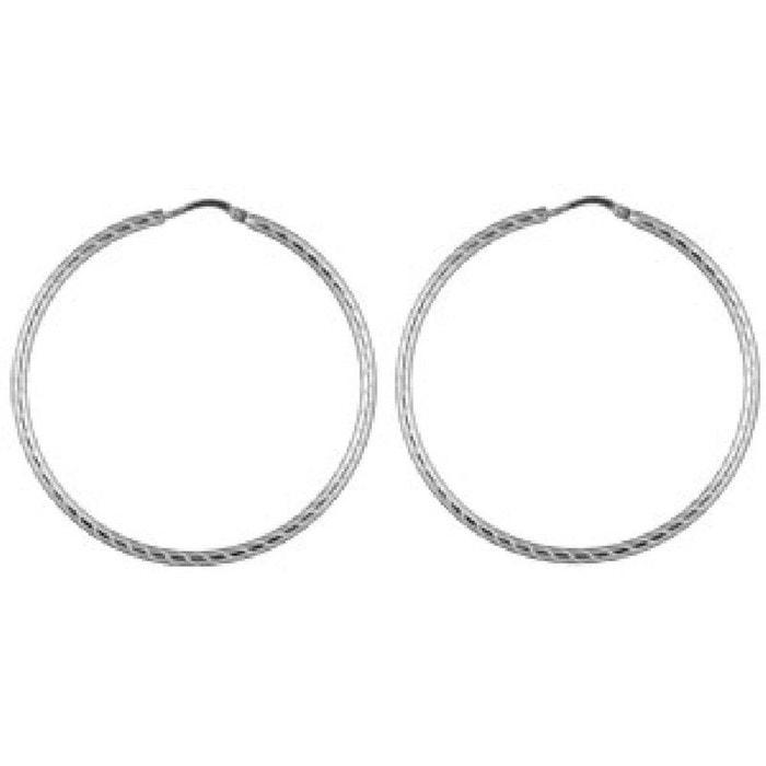 Boucles d oreilles Créoles 50 mm Fil Rond Strié Argent 925 SO CHIC BIJOUX  image ef6ccae97468