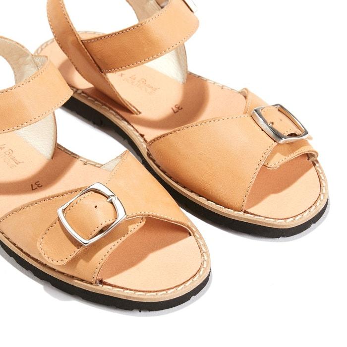 Sandales plates à boucle métal avarca boucle naturel Minorquines