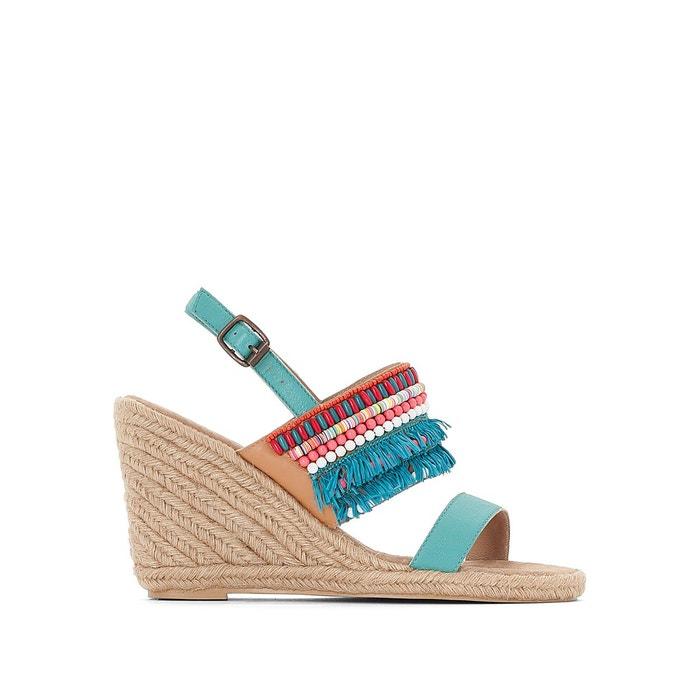 Sandales cuir compensées détail perles et franges  MADEMOISELLE R image 0