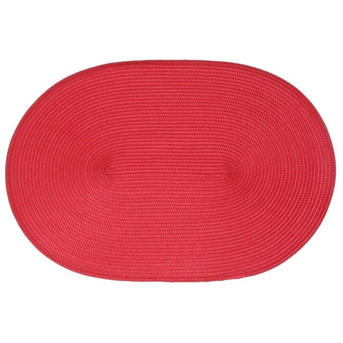 Set de table tress ovale rouge b et w cuisine la redoute - Set de table tresse ...