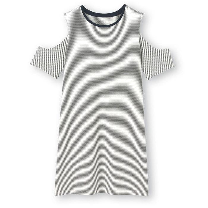 Robe rayée épaules dénudées 10-16 ans