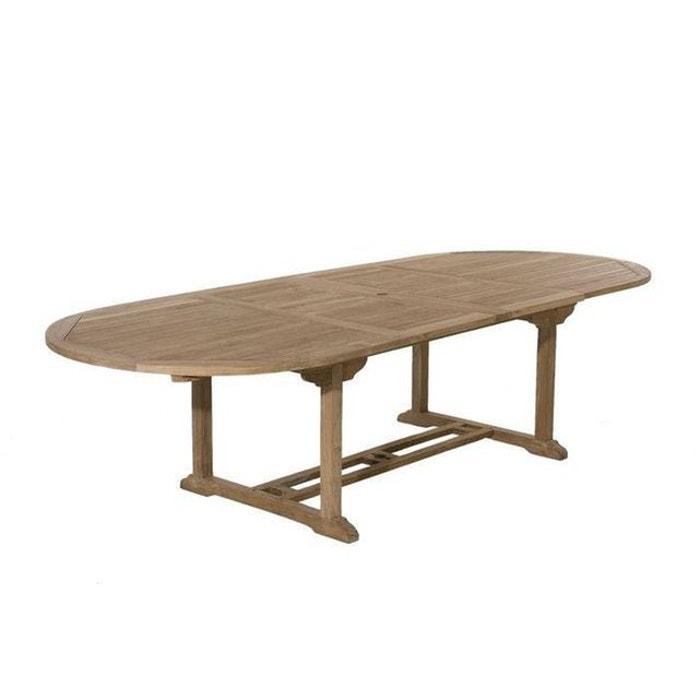 Table de jardin extensible ovale en bois de teck massif 200/300x120cm  SUMMER 12 personnes