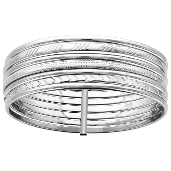 Bracelet femme diamètre: 62 mm semainier 7 joncs diamanté & lisse acier inoxydable couleur unique So Chic Bijoux   La Redoute Vente Pas Cher Meilleure Vente Z5NXT