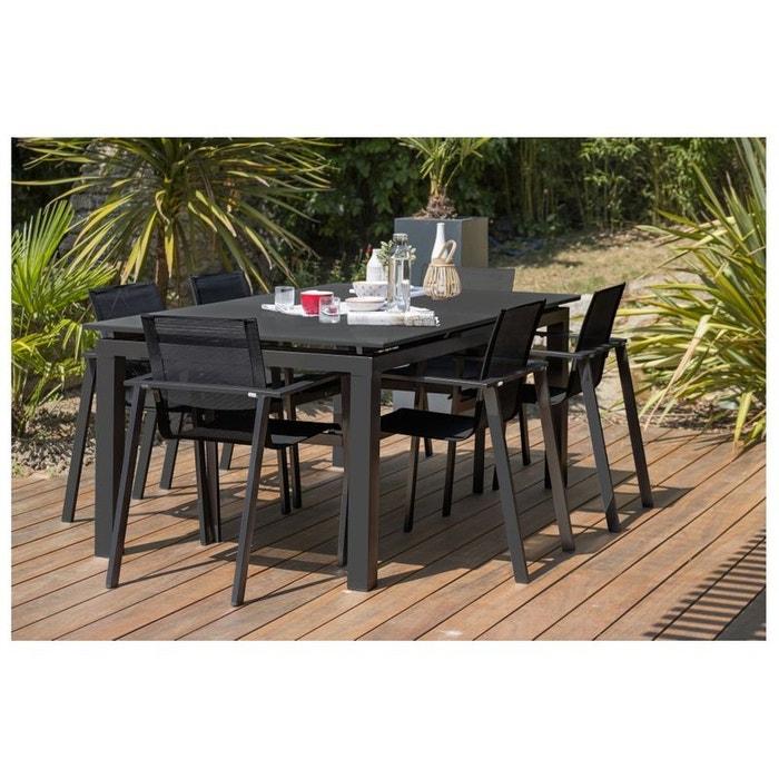 Table de jardin plateau verre + 6 fauteuils noir Dcb Garden | La Redoute