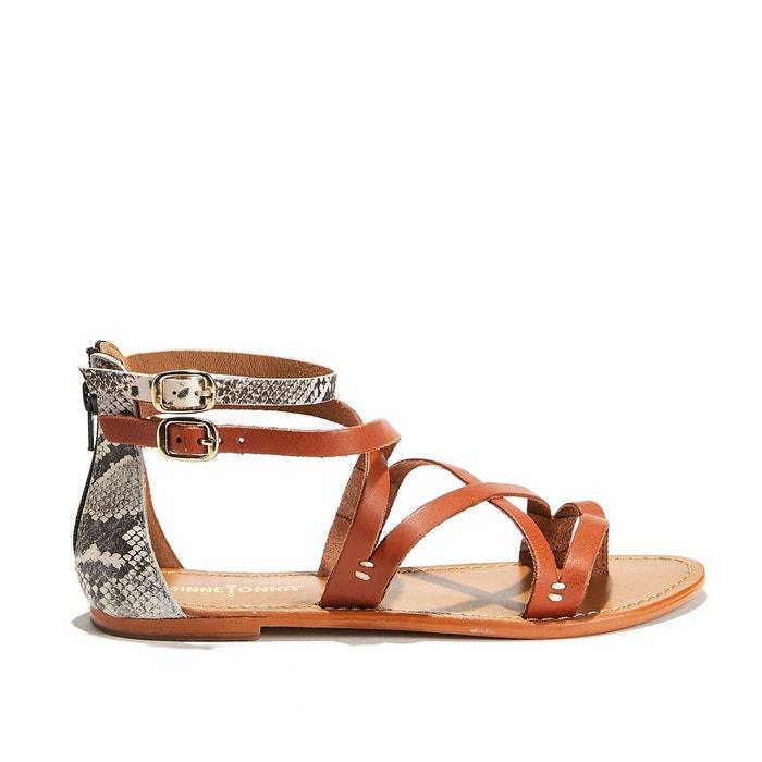 Sandales plates glissière au talon atrina   marron Minnetonka   La Redoute