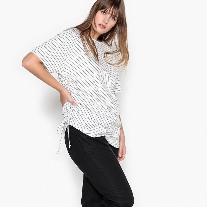 Gestreiftes T-Shirt mit Raffung auf der Seite  CASTALUNA image 0