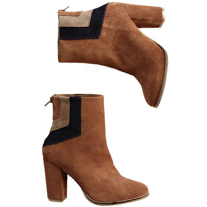 Boots cuir découpes graphiques camel La Redoute Collections