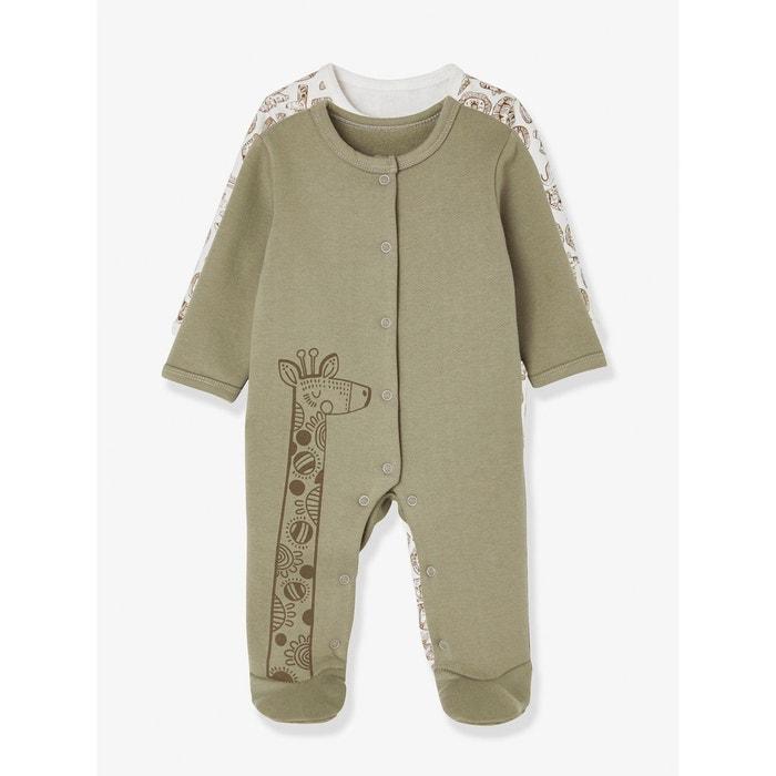 1a17b02cd3e60 Lot de 2 pyjamas bébé molleton pressionné devant beige bicolore Vertbaudet